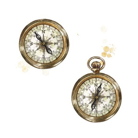 Pocket Compass. Watercolor Illustration. Banque d'images - 97766738