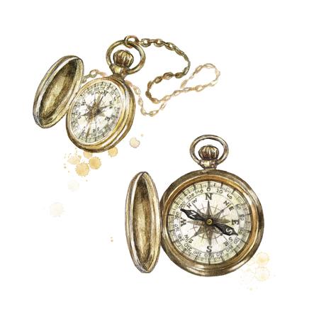 Pocket Compass. Watercolor Illustration.