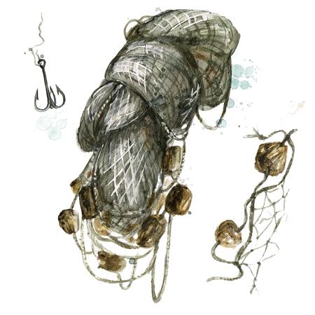 Fishing net. Watercolor Illustration. Foto de archivo - 97766735