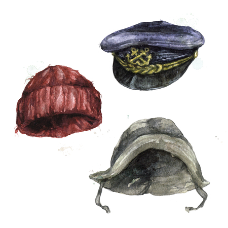 Fisherman Head Ware. Watercolor Illustration. Banque d'images - 97766739