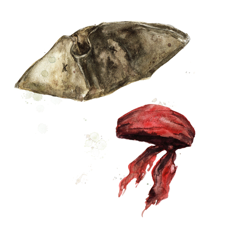Pirate Head Ware. Watercolor Illustration. Banque d'images - 97766740