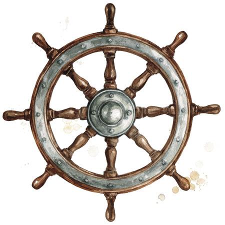 Ship steering wheel. Watercolor Illustration. Stock Photo