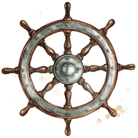 Ship steering wheel. Watercolor Illustration. Banque d'images