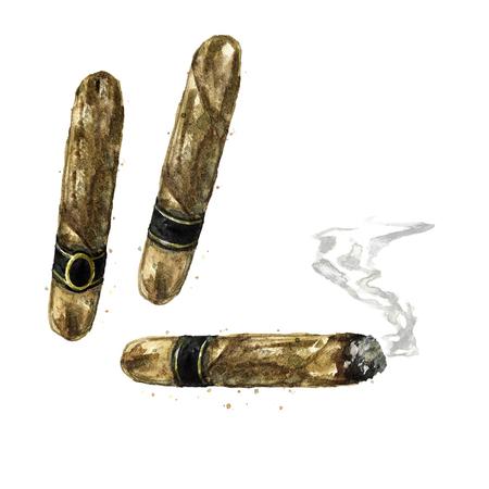 Cigars. Watercolor Illustration. Stock Photo