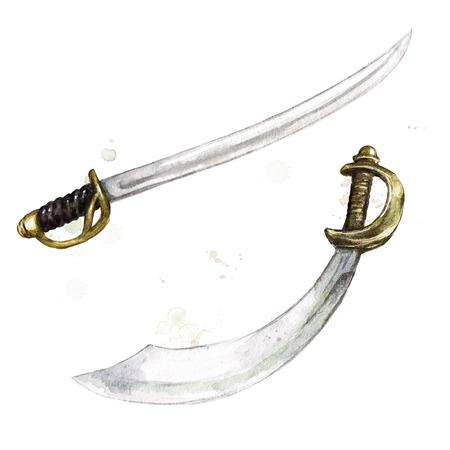 Swords. Watercolor Illustration. Banco de Imagens