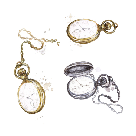 Pocket watches. Watercolor Illustration.