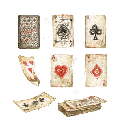 Old Playing Cards. Watercolor Illustration. Фото со стока - 97766809