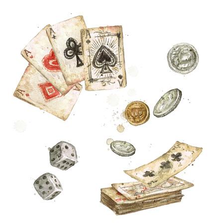 Oude speelkaarten. Aquarel Illustratie.