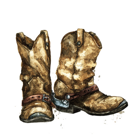 Pair of Cowboy Boots. Watercolor Illustration. Stock Photo