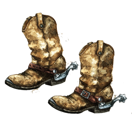 Pair of Cowboy Boots. Watercolor Illustration. Banco de Imagens