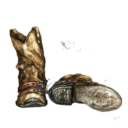 Paire de bottes de cow-boy aquarelle. illustration Banque d'images - 98367264