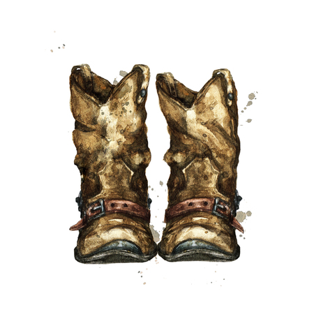 Pair of Cowboy Boots. Watercolor Illustration. 版權商用圖片