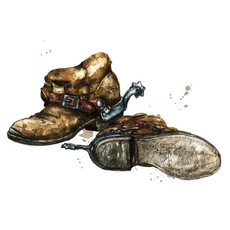 Paio di stivali da cowboy. Illustrazione ad acquerello
