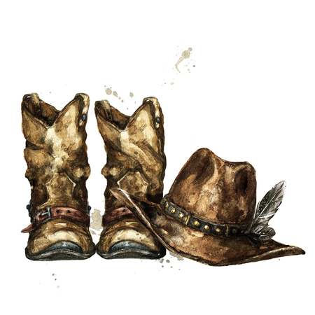 Cowboy Boots and Hat. Watercolor Illustration. Stock Photo
