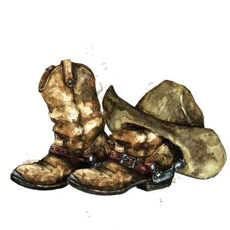 Cowboy Boots and Hat. Watercolor Illustration. 版權商用圖片