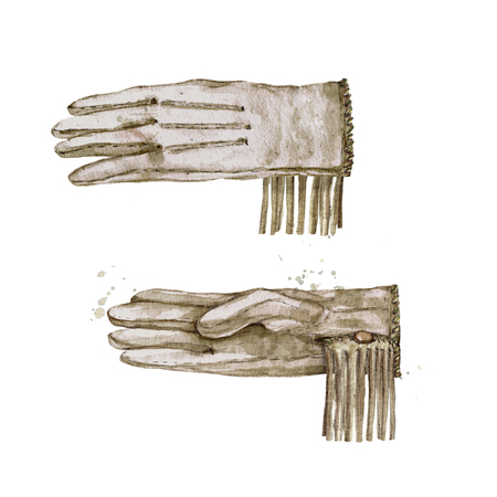 Pair of Cowboy Gloves. Watercolor Illustration. Stock Photo