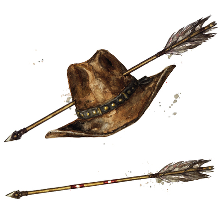 Cowboy Hat with Indian Arrow. Watercolor Illustration.