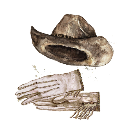 Pair of Gloves and Cowboy Hat. Watercolor Illustration. Stock Photo