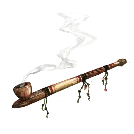 Indian Peace Pipe. Watercolor Illustration. Stock Photo