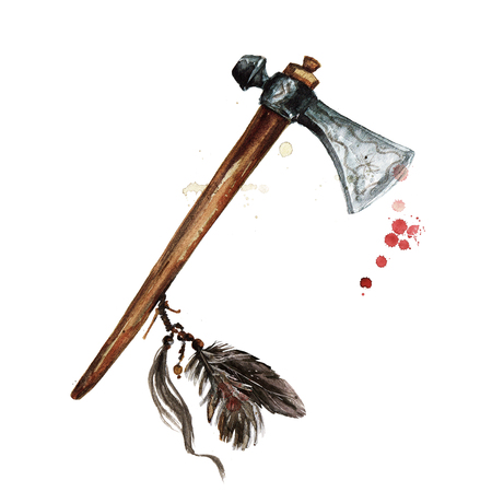 Indian War Hammer. Watercolor Illustration. Stock Photo