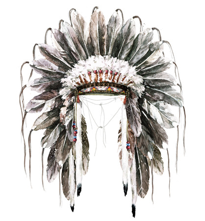 War Bonnet. Watercolor Illustration.