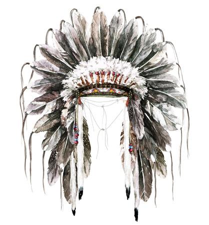 War Bonnet. Watercolor Illustration.