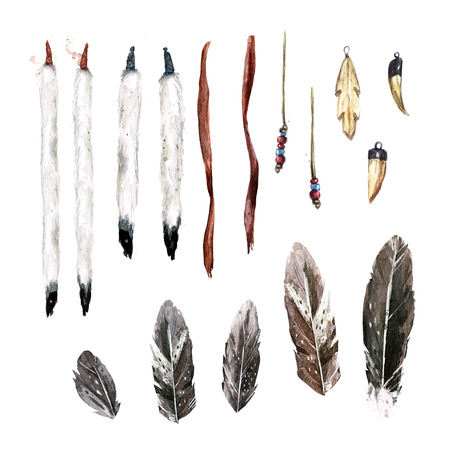 Set of Indian Accessories. Watercolor Illustration. Reklamní fotografie