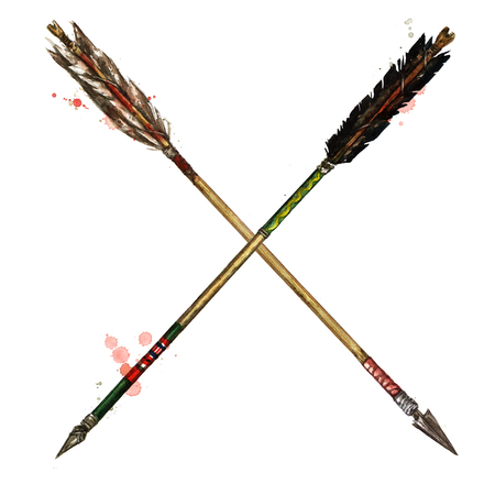 Indian Arrows. Watercolor Illustration. Stock Photo