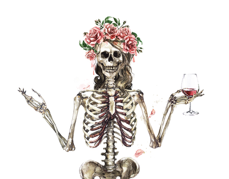 Szkielet człowieka ozdobiony kwiatami. Akwarela ilustracja.