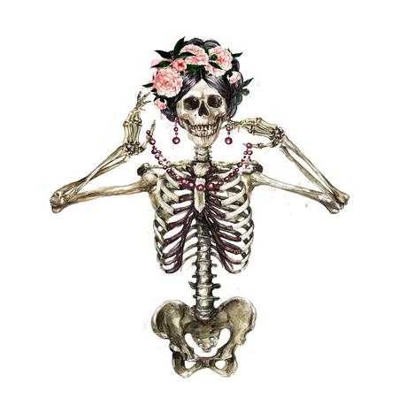 Menselijk skelet versierd met bloemen. Aquarel illustratie. Stockfoto