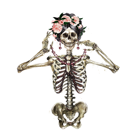 Squelette humain décoré de fleurs. Illustration aquarelle. Banque d'images