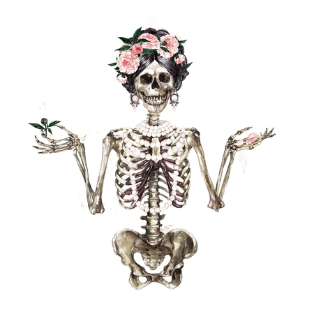 Human Skeleton decorated with flowers. Watercolor Illustration. Archivio Fotografico - 106199344