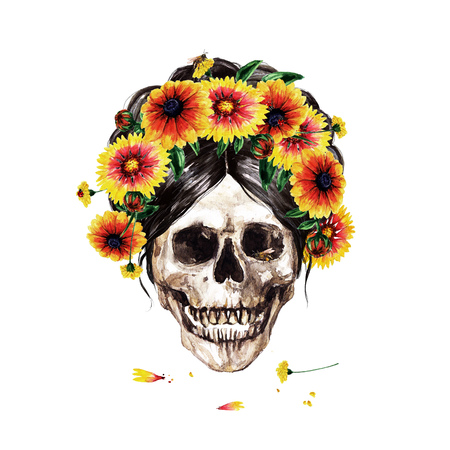 Human Skull decorated with Flowers. Watercolor Illustration. Фото со стока - 106199346