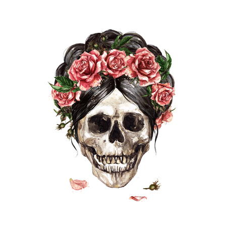 Human Skull decorated with Flowers. Watercolor Illustration. Standard-Bild - 106199348