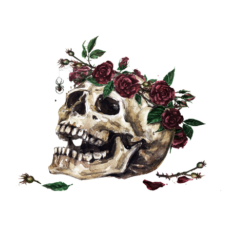 Human Skull decorated with Flowers. Watercolor Illustration. Archivio Fotografico - 106199349