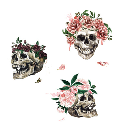 Human Skulls decorated with Flowers. Watercolor Illustration. Stock Photo