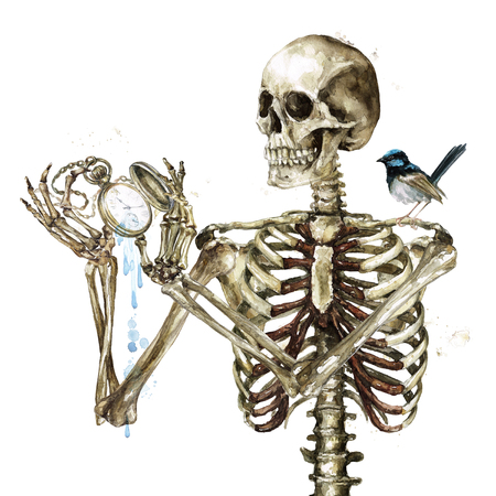 Human Skeleton holding Pocket Watch. Watercolor Illustration.