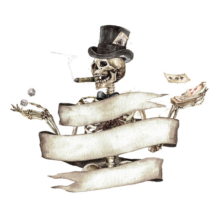 Human Skeleton decorated with ribbon banner. Watercolor Illustration. Фото со стока - 106617324
