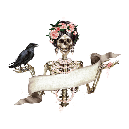 Human Skeleton decorated with flowers and ribbon banner. Watercolor Illustration.