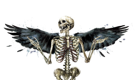 Human Skeleton decorated with wings. Watercolor Illustration. Stock Photo