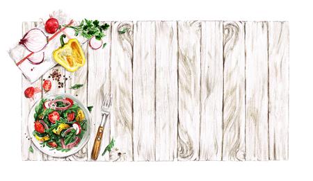 Fresh Salad. Watercolor Illustrations.
