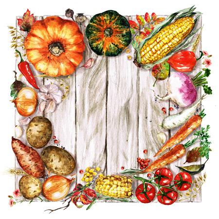 Autumn Vegetables. Watercolor Illustrations.