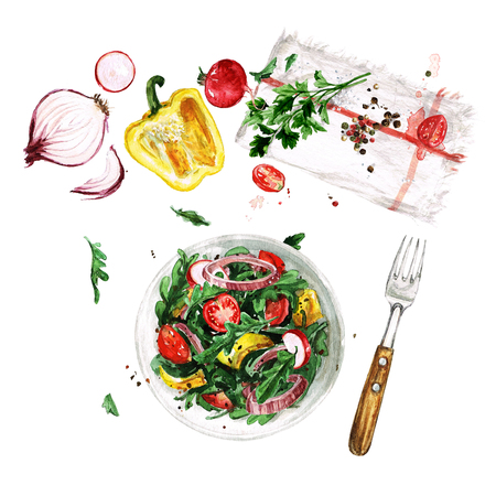 Fresh Salad. Watercolor Illustrations.