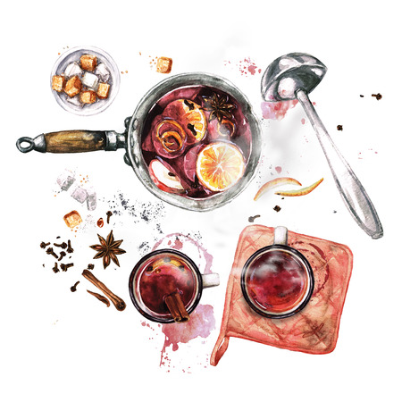 Mulled Wine Cooking . Watercolor Illustration. 版權商用圖片
