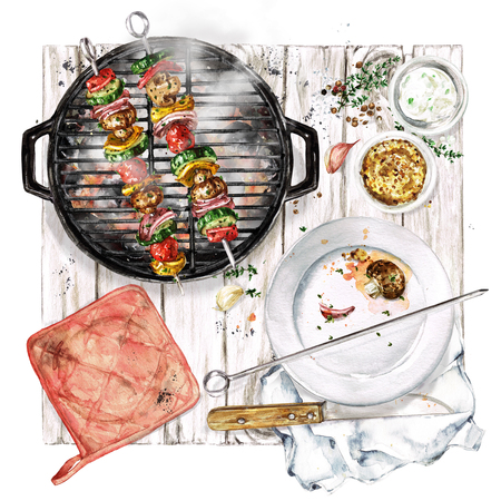 Grilled Vegetable Kebab. Watercolor Illustration. Reklamní fotografie