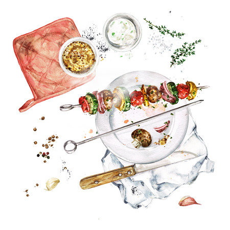Grilled Vegetable Kebab. Watercolor Illustration. Stock Photo