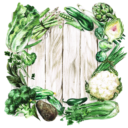 Fresh green Vegetables. Watercolor Illustration. Foto de archivo