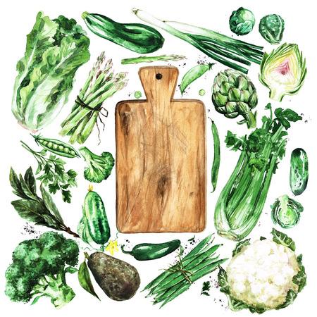 Fresh green Vegetables. Watercolor Illustration. Stock Photo