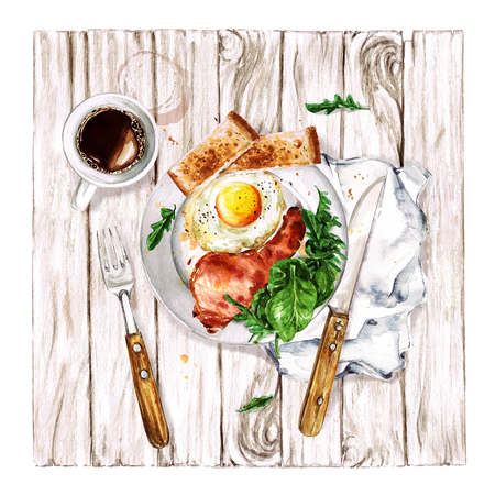 Bacon and Egg Breakfast. Watercolor Illustration.
