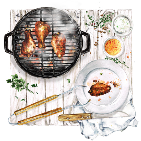 Grilled Chicken Wings. Watercolor Illustration.